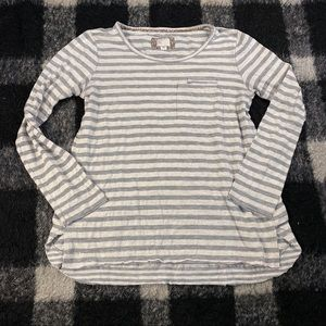 Anthro postcards striped ls knit top md